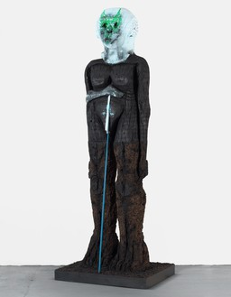 Huma Bhabha, Beyond the River, 2019 Cork, Styrofoam, rebar, wood, acrylic, and oil stick, 103 × 37 × 30 inches (261.6 × 94 × 76.2 cm)© Huma Bhabha. Photo: Rob McKeever