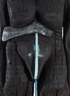 Huma Bhabha, Beyond the River, 2019 (detail) Cork, Styrofoam, rebar, wood, acrylic, and oil stick, 103 × 37 × 30 inches (261.6 × 94 × 76.2 cm)© Huma Bhabha. Photo: Rob McKeever