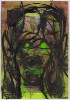 Huma Bhabha, Untitled, 2019 Ink, pastel, and acrylic on paper, 34 ½ × 23 ½ inches (87.6 × 59.7 cm)© Huma Bhabha. Photo: Rob McKeever