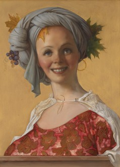 John Currin, Daphna, 2019 Oil on canvas, 30 × 22 inches (76.2 × 55.9 cm)© John Currin. Photo: Rob McKeever