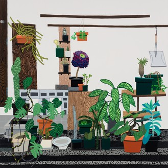 Jonas Wood, Still Life with Wood Panels, 2018 Oil and acrylic on canvas, 82 × 82 inches (208.3 × 208.3 cm)© Jonas Wood. Photo: Brian Forrest