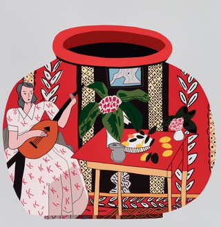 Jonas Wood, Red Pot with Lute Player #2, 2018 Oil and acrylic on canvas, 86 × 90 inches (218.4 × 228.6 cm)© Jonas Wood. Photo: Brian Forrest