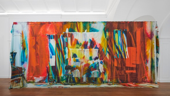 Katharina Grosse, Untitled, 2019 Digital print on silk, 106 ⅜ × 236 ¼ × 7 ⅞ inches (270 × 600 × 20 cm)© Katharina Grosse and VG Bild-Kunst Bonn, 2019. Photo: Ben Westoby