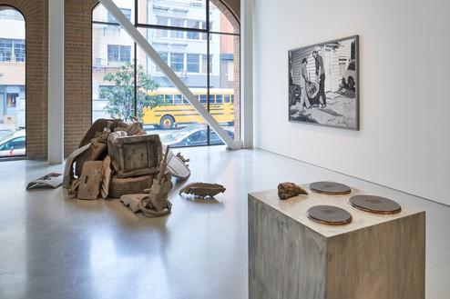 Installation view Artwork, left to right: © Josh Kline; © 2019 Rosemarie Trockel/Artists Rights Society (ARS), New York; © Jeff Wall. Photo: Glen Cheriton