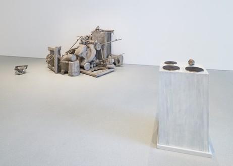 Installation view Artwork, left to right: © Josh Kline; © 2019 Rosemarie Trockel/Artists Rights Society (ARS), New York. Photo: Glen Cheriton