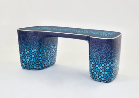 Marc Newson, Cloisonné Blue Desk, 2017 Cloisonné enamel and copper, 29 ½ × 76 ⅜ × 31 ½ inches (74.9 × 194 × 80 cm)© Marc Newson. Photo: Xiangzhe Kong