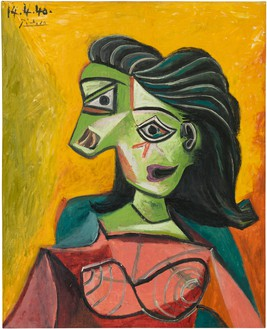 Pablo Picasso, Buste de femme (Dora Maar), 1940 Oil on canvas, 29 ⅛ × 23 ⅝ inches (74 × 60 cm)© 2019 Estate of Pablo Picasso/Artist Rights Society (ARS), New York