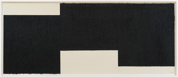 Richard Serra, Triptych #2, 2019 Paintstick, etching ink, and silica on three sheets of handmade paper, 48 ¾ × 118 inches (123.8 × 299.7 cm)© 2019 Richard Serra/Artists Rights Society (ARS), New York. Photo: Rob McKeever