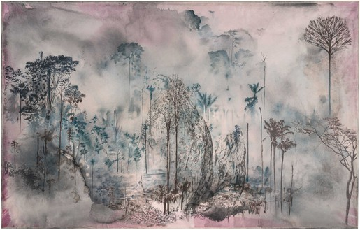 Tatiana Trouvé, August, 2019, from the series The Great Atlas of Disorientation, 2018– Ink, bleach, and pencil on paper mounted on canvas, 60 ¼ × 94 ½ inches (153 × 240 cm)© Tatiana Trouvé. Photo: Florian Kleinefenn