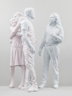 Urs Fischer, Leo (George & Irmelin), 2019 Paraffin wax, microcrystalline wax, pigment, stainless steel, and wicks, 84 ⅝ × 38 ⅝ × 57 ¾ inches (214.9 × 98.1 × 146.7 cm), edition of 2 + 2 APArtwork © Urs Fischer. Photo: Stefan Altenburger