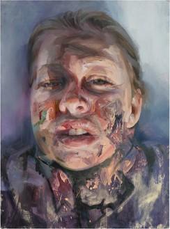Jenny Saville, Self-Portrait (after Rembrandt), 2019 Oil on paper, 54 ⅛ × 40 inches (137.5 × 101.5 cm)© Jenny Saville