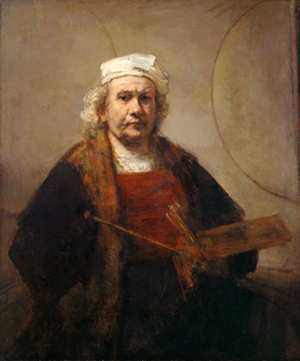 Rembrandt van Rijn, Self-Portrait with Two Circles, c. 1665 Oil on canvas, 45 × 37 inches (114.3 × 94 cm), English Heritage, The Iveagh Bequest (Kenwood, London).Photo: Historic England Photo Library