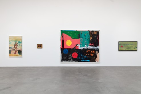 Installation view Artwork, left to right: © Richard Prince; Albert Bierstadt; © Joe Bradley; © 2020 Helen Frankenthaler Foundation, Inc./Artists Rights Society (ARS), New York. Photo: Lucy Dawkins