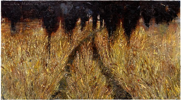 Anselm Kiefer, die sieben Schalen des Zorns (The Seven Bowls of Wrath), 2019–20 Emulsion, oil, acrylic, shellac, straw, and gold leaf on canvas, 185 ⅛ × 330 ¾ inches (470 × 840 cm)© Anselm Kiefer. Photo: Georges Poncet