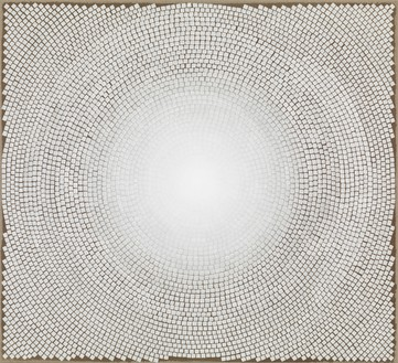 Y.Z. Kami, White Dome VI, 2012–13 Dye and acrylic on linen, 30 × 33 inches (76.2 × 83.8 cm)© Y.Z. Kami