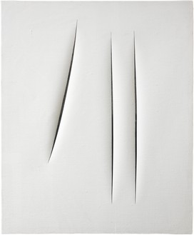 Lucio Fontana, Concetto spaziale, Attese, 1966 Water-based paint on canvas, 24 × 19 ¾ inches (61 × 50 cm)© Fondation Lucio Fontana, Milano/by SIAE/ADAGP, Paris, 2020