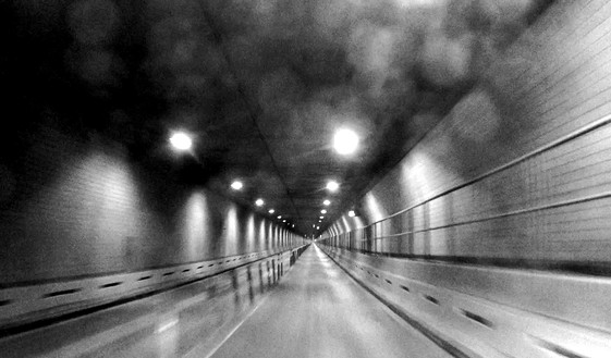 """Adam McEwen, """"Lincoln Tunnel,"""" from Escape from New York, 2014 Four-channel video projection, black and white, silent, 2 min. 42 sec. (looped), edition of 2 + 1 AP© Adam McEwen"""
