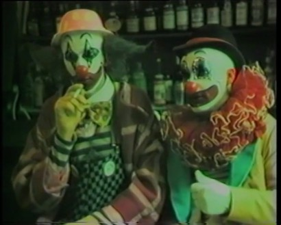 Damien Hirst and Angus Fairhurst, A Couple of Cannibals Eating a Clown (I Should Coco), 1993 (still) Video, color, sound, 22 min. 10 sec.© Estate of Angus Fairhurst, courtesy Sadie Coles HQ, London, and © Damien Hirst and Science Ltd. All rights reserved, DACS 2020