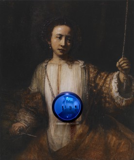 Jeff Koons, Gazing Ball (Rembrandt Lucretia), 2015 Oil on canvas, glass, and aluminum, 63 ¾ × 53 ¼ × 14 ¾ inches (161.9 × 135.3 × 37.5 cm)© Jeff Koons. Photo: Tom Powel Imaging