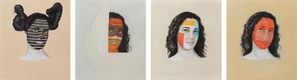 Adriana Varejão, Kindred Spirits - Stella, Rothko, Smith, Judd, 2015 Oil on canvas, in 4 parts, each: 20 ½ × 18 inches (52 × 45.5 cm)© Adriana Varejão