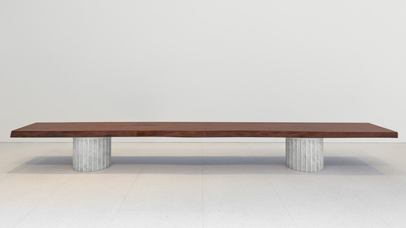 Curzio Malaparte, Bench, 1941/2020 Walnut and Carrara marble, 18 ½ × 171 ¼ × 22 ⅛ inches (47 × 435 × 56 cm), edition of 12 + 2 AP© Malaparte Design. Photo: Prudence Cuming Associates