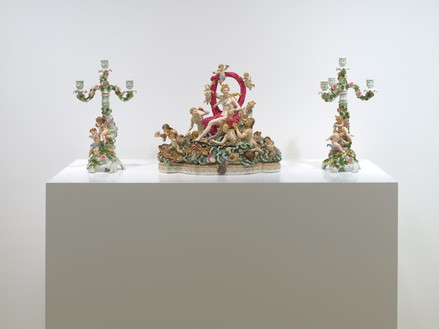 Meissen porcelain statuettes depicting the triumph of Amphitrite and a pair of Dresden five-branch candelabra, from the personal collection of Curzio Malaparte