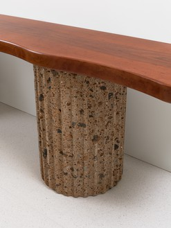 Curzio Malparte, Console, 1941/2020 (detail) Walnut and tuff, 28 ½ × 106 ½ × 19 ⅜ inches (72.4 × 270.5 × 49 cm), edition of 12 + 2 AP© Malaparte Design. Photo: Prudence Cuming Associates