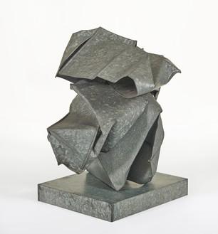 John Chamberlain, Untitled, c. 1967 Galvanized steel, 36 × 28 ½ × 27 ½ inches (91.4 × 72.4 × 69.9 cm), Cy Twombly Foundation© 2020 Fairweather & Fairweather LTD/Artists Rights Society (ARS), New York. Photo: Peter Schälchli, Zürich