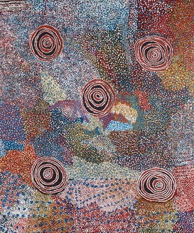 Bill Whiskey Tjapaltjarri, Country and Rockholes near the Olgas, 2006 Synthetic polymer on linen, 71 ⅞ × 59 ⅝ inches (182.6 × 151.5 cm)© Bill Whiskey Tjapaltjarri