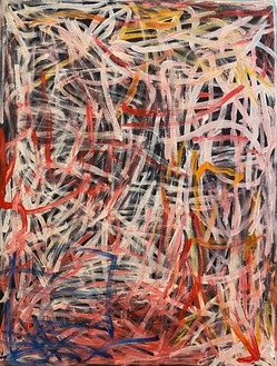 Emily Kame Kngwarreye, Yam Dreaming, 1996 Synthetic polymer on linen, 48 × 36 ¼ inches (122 × 92 cm)© Emily Kame Kngwarreye/Copyright Agency. Licensed by Artists Rights Society (ARS), New York, 2020