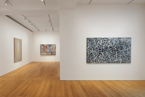 Installation view Artwork, left to right: © Yukultji Napangati/Copyright Agency. Licensed by Artists Rights Society (ARS), New York, 2020; © Bill Whiskey Tjapaltjarri; © Emily Kame Kngwarreye/Copyright Agency. Licensed by Artists Rights Society (ARS), New York, 2020