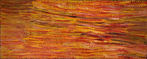Emily Kame Kngwarreye, Desert Ceremony, 1994 Synthetic polymer on linen, 48 × 119 ¾ inches (122 × 304 cm)© Emily Kame Kngwarreye/Copyright Agency. Licensed by Artists Rights Society (ARS), New York, 2020