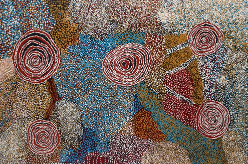 Bill Whiskey Tjapaltjarri, Country and Rockholes near the Olgas, 2006 Synthetic polymer on linen, 48 × 72 ⅞ inches (122 × 185 cm)© Bill Whiskey Tjapaltjarri