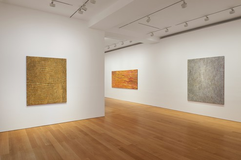 Installation view Artwork, left and right: © Yukultji Napangati/Copyright Agency. Licensed by Artists Rights Society (ARS), New York, 2020; center: © Emily Kame Kngwarreye/Copyright Agency. Licensed by Artists Rights Society (ARS), New York, 2020