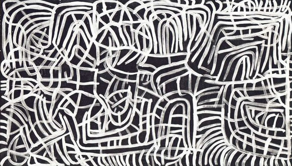 Emily Kame Kngwarreye, Yam Dreaming, 1995 Synthetic polymer on linen, 48 ¼ × 84 ⅛ inches (122.5 × 213.6 cm)© Emily Kame Kngwarreye/Copyright Agency. Licensed by Artists Rights Society (ARS), New York, 2020