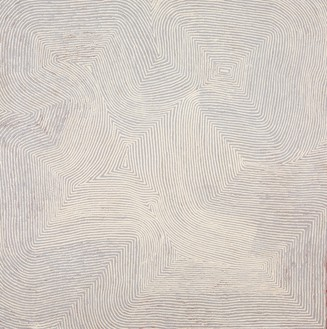Warlimpirrnga Tjapaltjarri, Untitled, 2008 Synthetic polymer on linen, 48 × 48 inches (122 × 122 cm)© Warlimpirrnga Tjapaltjarri/Copyright Agency. Licensed by Artists Rights Society (ARS), New York, 2020