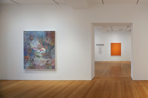 Installation view Artwork, left to right: © Bill Whiskey Tjapaltjarri; © George Tjungurrayi/Copyright Agency. Licensed by Artists Rights Society (ARS), New York, 2020