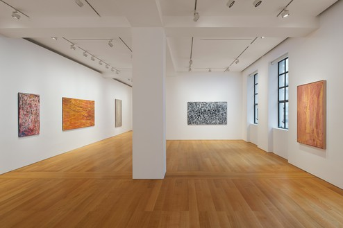 Installation view Artwork, left to right: © Emily Kame Kngwarreye/Copyright Agency. Licensed by Artists Rights Society (ARS), New York, 2020; © Yukultji Napangati/Copyright Agency. Licensed by Artists Rights Society (ARS), New York, 2020; © Emily Kame Kngwarreye/Copyright Agency. Licensed by Artists Rights Society (ARS), New York, 2020