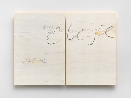 Edmund de Waal, elegie, 2020 Kaolin, graphite, gold, oil stick, oak, and ash, in 2 parts, overall: 33 ⅛ × 46 ⅞ × 1 ¾ inches (84 × 119 × 4.5 cm)© Edmund de Waal. Photo: Mike Bruce