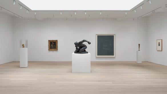Installation view Artwork, left to right: Medardo Rosso; Paul Cezanne; Auguste Rodin, © Cy Twombly Foundation; © 2020 Brice Marden/Artists Rights Society (ARS), New York. Photo: Rob McKeever