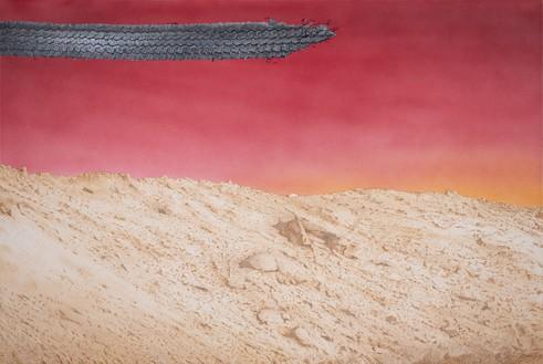 Ed Ruscha, Hardscrabble, 2020 Acrylic on canvas, 32 × 48 inches (81.3 × 122 cm)© Ed Ruscha. Photo: Paul Ruscha