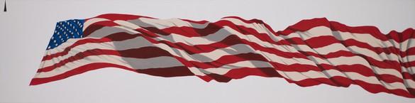 Ed Ruscha, RIPPLING FLAG, 2020 Acrylic on canvas, 24 × 96 inches (61 × 243.8 cm)© Ed Ruscha. Photo: Paul Ruscha