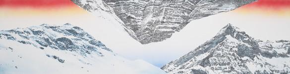Ed Ruscha, Mountains, 2020 Acrylic on canvas, 24 × 96 inches (61 × 243.8 cm)© Ed Ruscha. Photo: Paul Ruscha