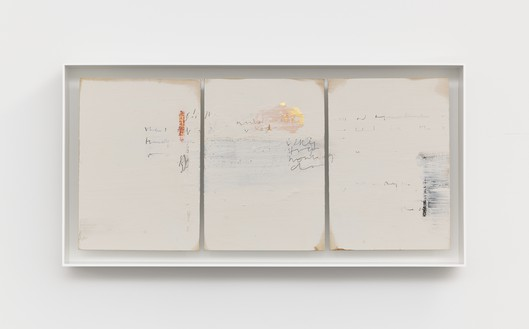 Edmund de Waal, cold mountain, I, 2020 Kaolin, gold leaf, graphite, compressed charcoal, and oil stick on oak and ash, in aluminum frame, 9 ⅞ × 19 ⅜ × 2 inches (25 × 49 × 5 cm)© Edmund de Waal