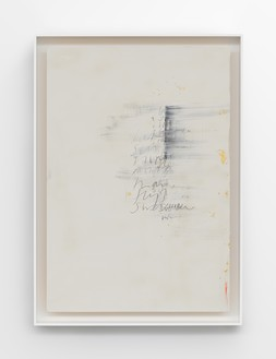 Edmund de Waal, Wu-chüeh: two poems, 2020 Kaolin, gold leaf, graphite, compressed charcoal, and oil stick on ash, in aluminum frame, 36 ¼ × 26 × 3 inches (92 × 66 × 7.5 cm)© Edmund de Waal