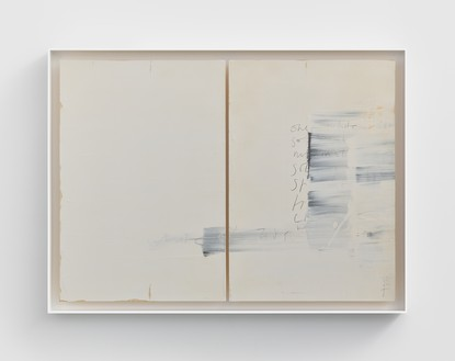 Edmund de Waal, poems from cold mountain, II, 2020 Kaolin, gold leaf, graphite, and compressed charcoal on oak, in aluminum frame, 36 ¼ × 49 ¼ × 3 inches (92 × 125 × 7.5 cm)© Edmund de Waal