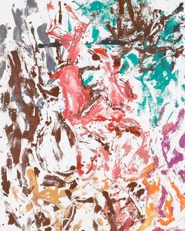 Georg Baselitz, Aus den 50iger Jahren etwas (Something from the fifties), 2019 Oil on canvas, 98 ½ × 78 ¾ inches (250 × 200 cm)© Georg Baselitz. Photo: Jochen Littkemann