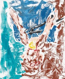 Georg Baselitz, Orangenesser 14 (Orange Eater 14), 2019 Oil on canvas, 64 ⅞ × 53 ⅛ inches (165 × 135 cm)© Georg Baselitz. Photo: Jochen Littkemann