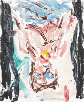 Georg Baselitz, Orangenesser 11 (Orange Eater 11), 2019 Oil on canvas, 65 × 53 ⅛ inches (165 × 135 cm)© Georg Baselitz. Photo: Jochen Littkemann