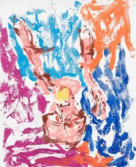 Georg Baselitz, Orangenesser 16 – Oslo (Orange Eater 16 – Oslo), 2019 Oil on canvas, 64 ⅞ × 53 ⅛ inches (165 × 135 cm)© Georg Baselitz. Photo: Jochen Littkemann